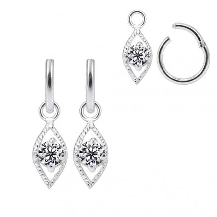 925 Sterling Silver Fancy Jeweled Hanging with Hinged Clicker Earrings