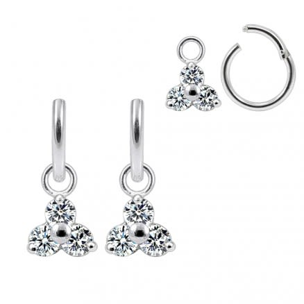 925 Sterling Silver Tri CZ Jeweled Hanging with Hinged Clicker Earrings