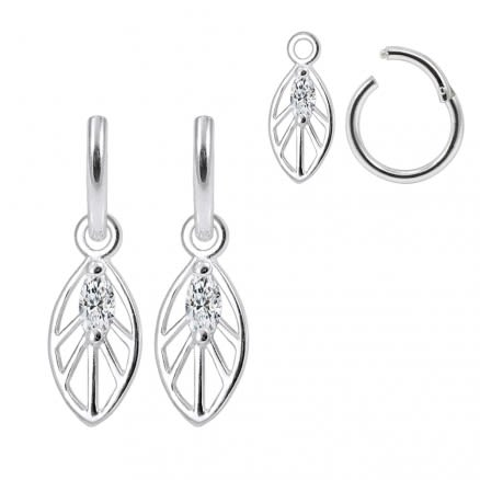 925 Sterling Silver Jeweled Leaf Hanging with Hinged Clicker Earrings