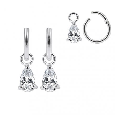 925 Sterling Silver Tear Drop CZ Jeweled Hanging with Hinged Clicker Earrings