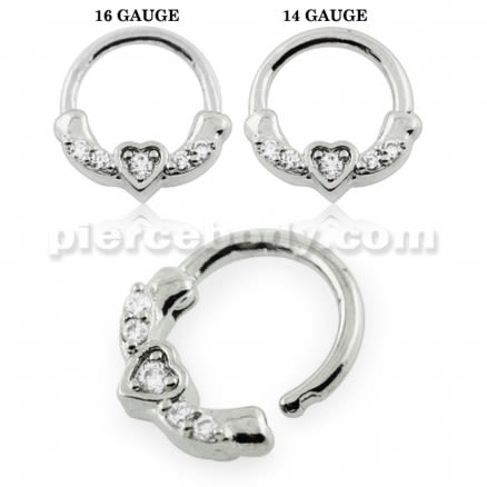 Heart Pronged Crystal CZs Septum Clicker