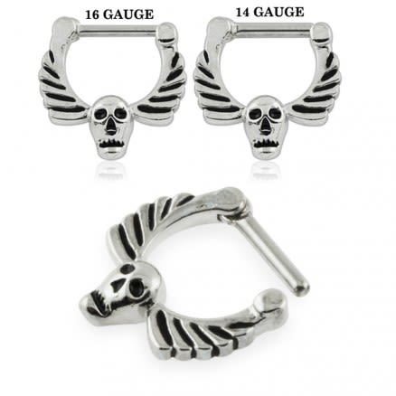 Skull with Angel Wings Septum Clicker