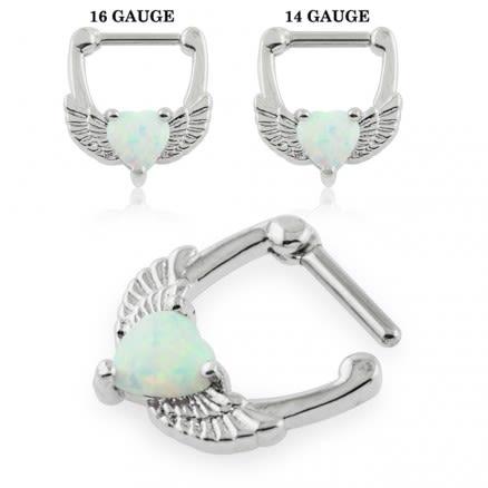Synthetic White Opal Heart Septum Clicker Piercing