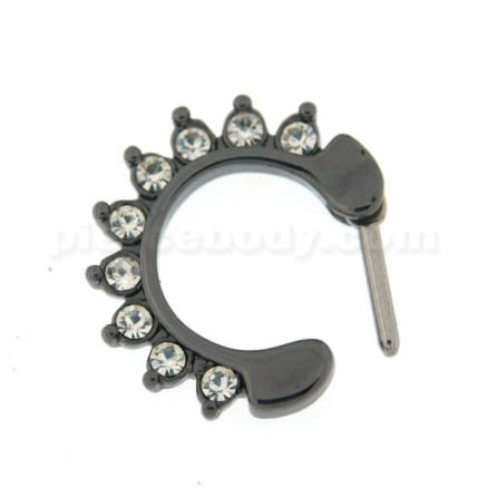 Black PVD Single Line 9 CZ's Pronged Septum Clicker Piercing