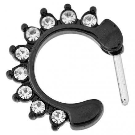 Black PVD Single Line 9 CZ's Pronged Septum Clicker Piercing