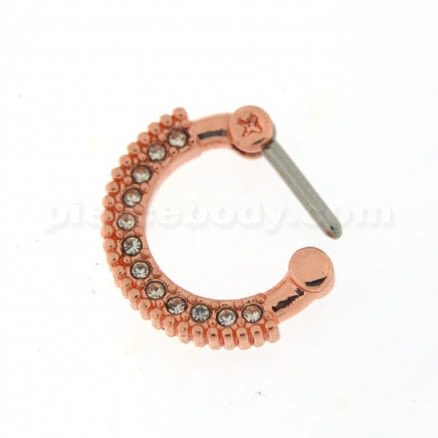 Rose Gold PVD Single Line Micro Paved Septum Clicker Piercing