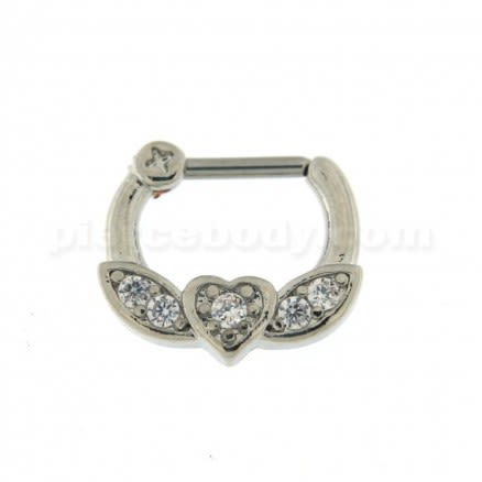Micro Paved CZ Flying Heart Septum Clicker Piercing