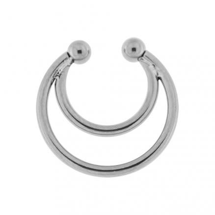 Surgical Steel Twin Circulars Fake Septum Piercing