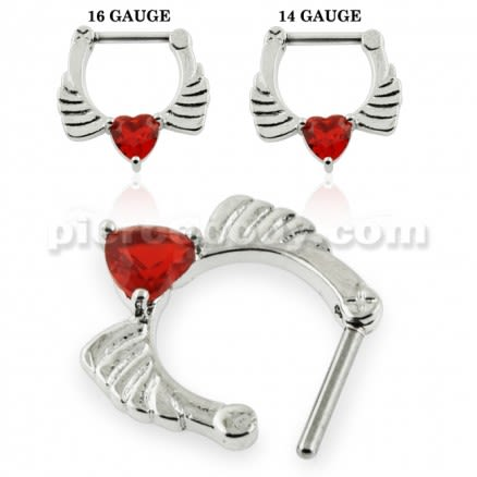 Angel Wings with Red Heart CZ Septum Clicker