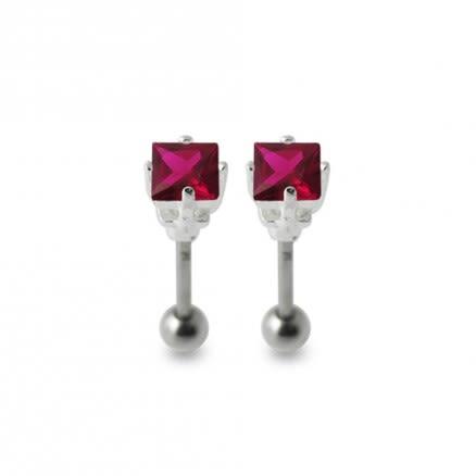 Jeweled Silver Ear Stud Body Piercing Jewelry