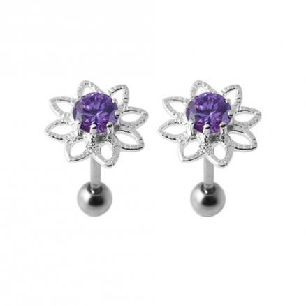 16G Jeweled Silver Ear Body Jewelry