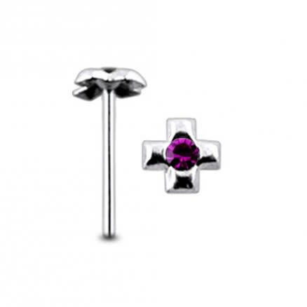 Jeweled Cross Straight Nose Pin