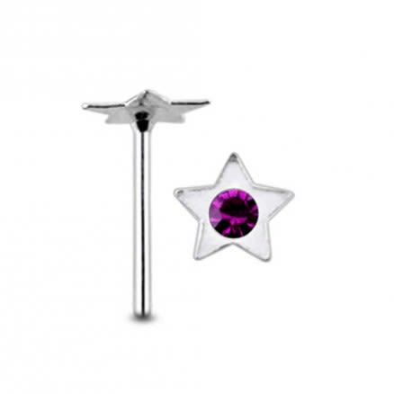 Jeweled Star Straight Nose Pin