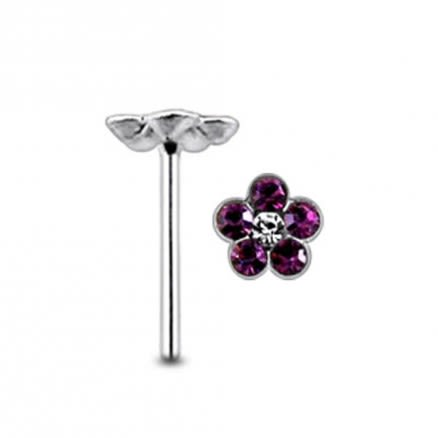 Flower with Center Clear Stone Straight Nose Pin
