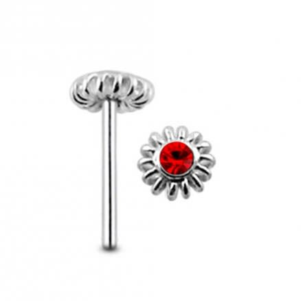 Gemmed Coiled Flower Straight Nose Pin