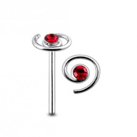 Jeweled Spiral Straight Nose Pin