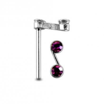 """Double Jeweled Handmade """"S'Straight Nose Pin"""