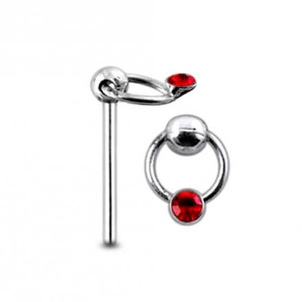 Moving Jewel on Ring  Straight Nose Pin