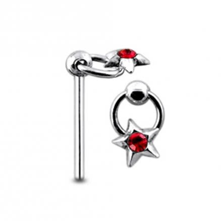 Moving Star on Ring Straight Nose Pin