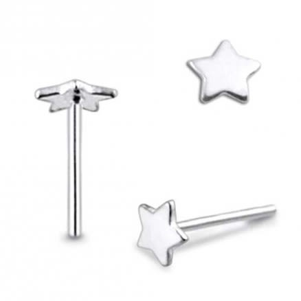 Flat Plain Star Straight Nose Pin