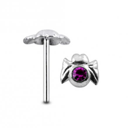 Jeweled Spider Straight Nose Pin