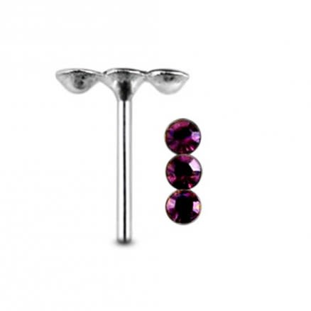 Triple Jeweled Straight Nose Pin