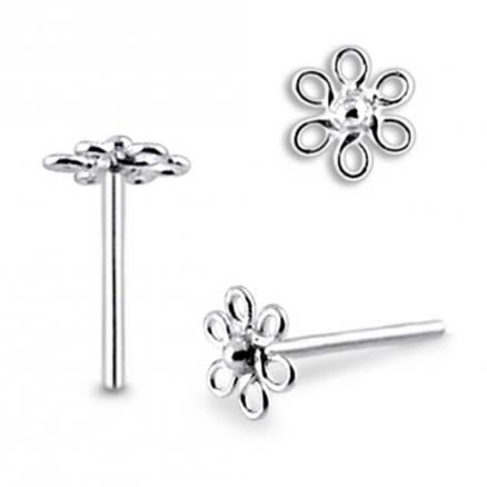 Filigree Flower Straight Nose Pin