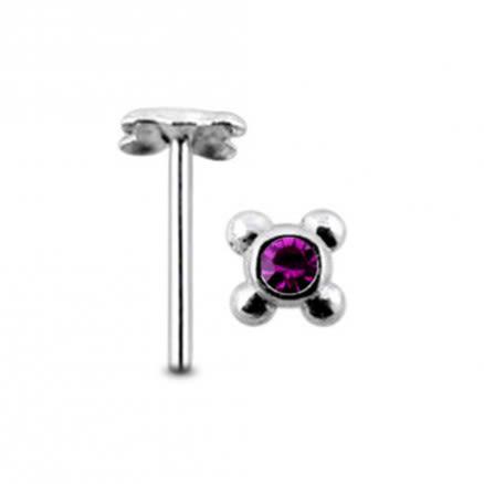 Jeweled Tetra Dot Straight Nose Pin