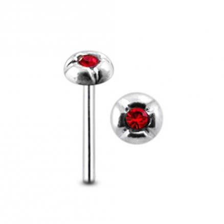 Jeweled Iron Cross Straight Nose Pin