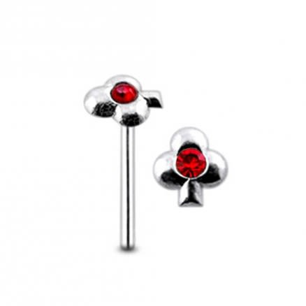 Jeweled Clover Straight Nose Pin