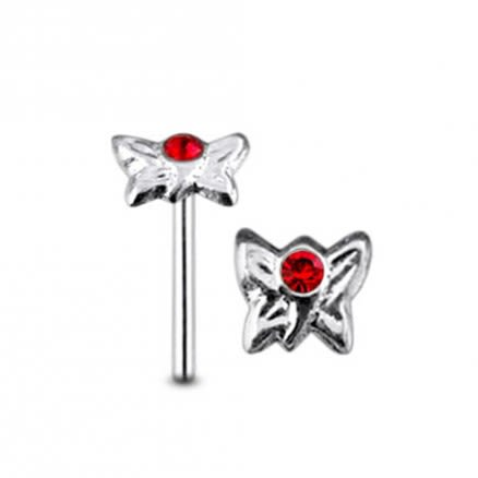 Jeweled Butterfly Straight Nose Pin