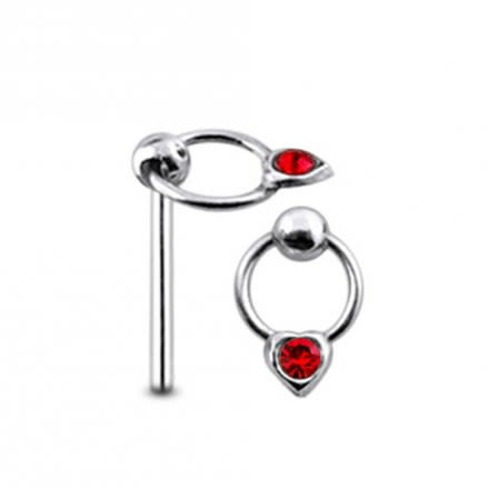 Jeweled Heart on Moving Ring Straight Nose PinJeweled Heart on Moving Ring Straight Nose Pin