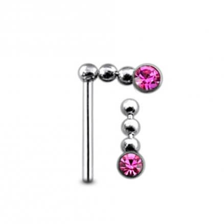 Jeweled Chain Dangling Straight Nose Pin