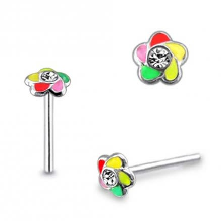 Jeweled Multi Colored Straight Nose Pin