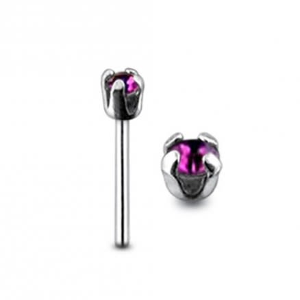 Jeweled Top Claw Set Straight Nose Pin