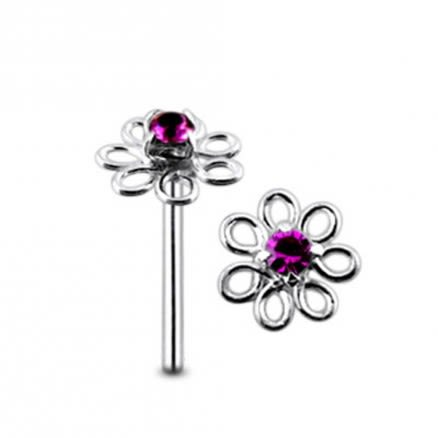 Filigree Jeweled Handmade Straight Nose Pin