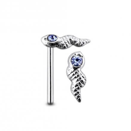Jeweled Head Viper Straight Nose Pin