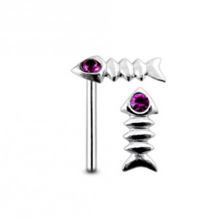 Jeweled Tiny Gem Straight Nose Pin