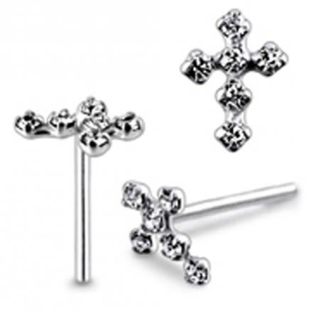 Diamond Gem Cross Straight Nose Pin