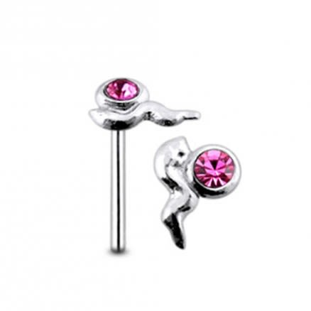 Jeweled Sperm Straight Nose Pin