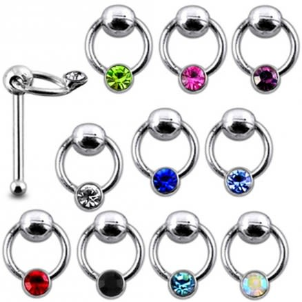 """925 Silver Jeweled """"S"""" Nose stud"""