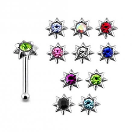 925 Silver Blue Gem Stone Studded Nose Stud