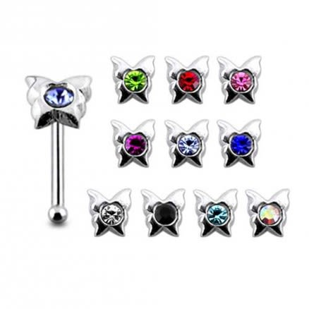 925 Silver Jeweled Butterfly Shape Nose Stud