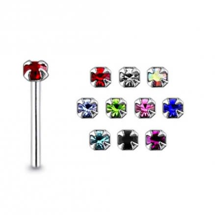 25 Silver Jeweled Tiny Gem Nose Stud