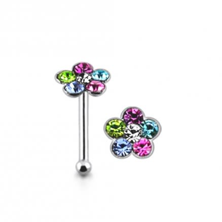 925 Silver Multi Color Stone Flower Nose Ring