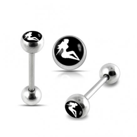 Sexy Lady Logo Tongue Barbell Ring