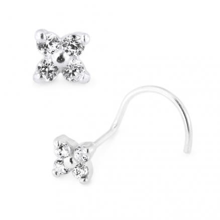 925 Sterling Silver 4 CZ's Flower Nose Stud