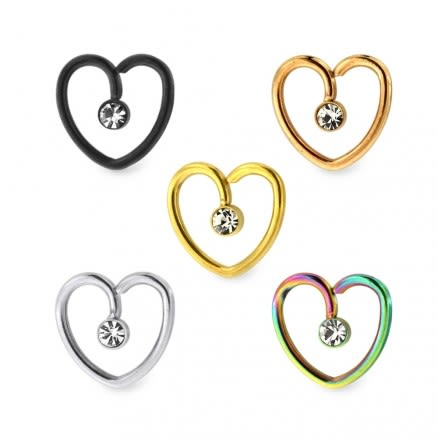 Jeweled Heart Cartilage Single Closure Daith piercing Ring