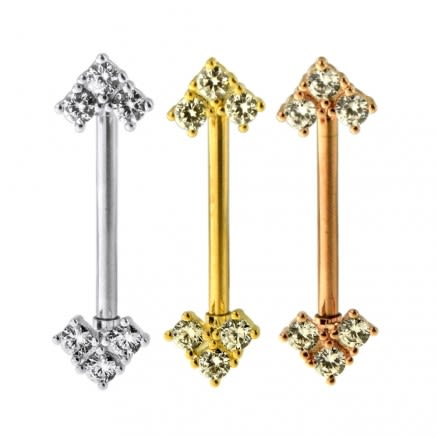 Tri Jeweled Arrow CZ Nipple Piercing Bar