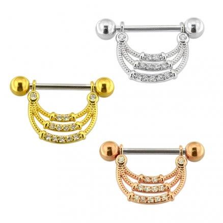 Micro Jeweled Tri Rope Nipple Piercing Bar